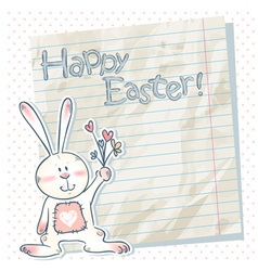 Easter cartoon bunny on a notebook scrap paper vector image
