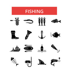 fishing thin line icons linear flat vector image