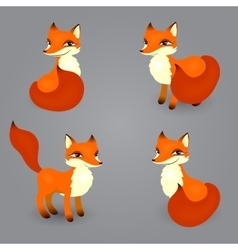 fox isolated diferent poses vector image