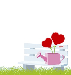 Heart tree in the water can on the chair vector image