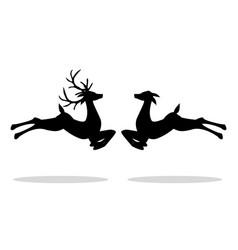 jumping male deer and female deer vector image