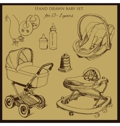 retro hand drawn baby set for 1-2 years old vector image