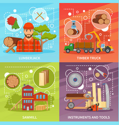 sawmill timber compositions set vector image vector image
