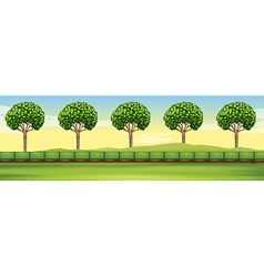 Scene with trees and field vector image vector image