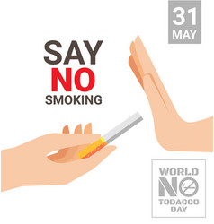 world no tobacco day for say no smoking concept vector image vector image