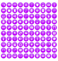 100 leisure icons set purple vector