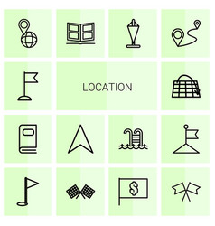 14 location icons vector image