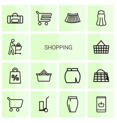 14 shopping icons vector image