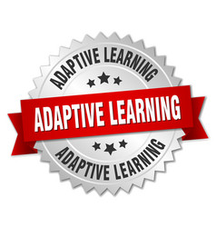 Adaptive learning round isolated silver badge vector