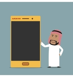 Arabian businessman with golden mobile phone vector