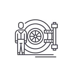 bank safe line icon concept bank safe vector image