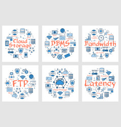 banners- ftp latency bandwidth and cloud storage vector image