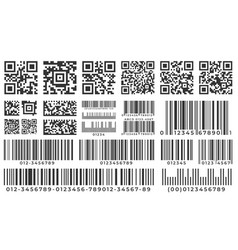 barcodes scan bar label qr code and industrial vector image
