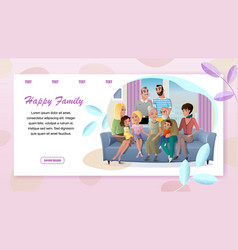 big happy family meeting at home web banner vector image