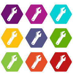 Big spanner icons set 9 vector
