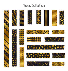 black and golden tapes collection vector image