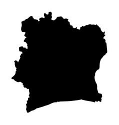 Black silhouette country borders map of ivory vector