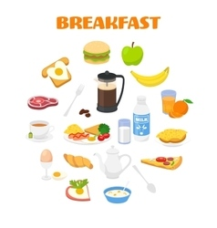 Breakfast with fresh food and drinks icons set vector image