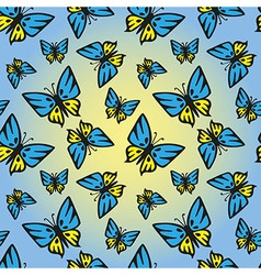 Butterfly blue-yellow seamless texture vector
