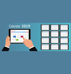 Calendar for 2019 year hand with a vector
