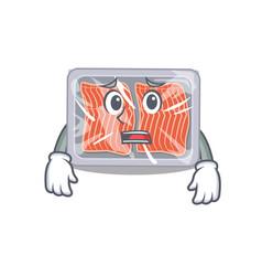 Cartoon design style frozen salmon showing vector