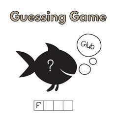 cartoon fish guessing game vector image