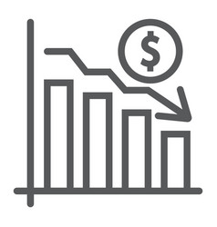 chart line icon finance and banking decrease vector image