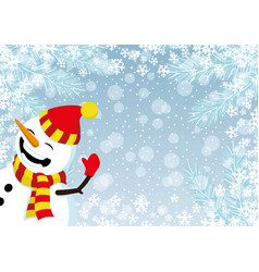 Cheerful snowman in a red hat vector