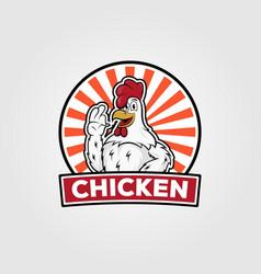 Chicken vintage logo design chicken cartoon on vector