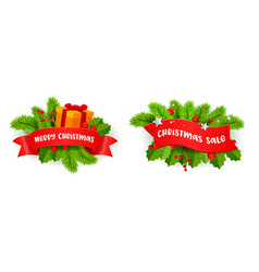 christmas festive decor with fir-tree branches vector image
