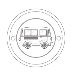 Circular contour of silhouette with mini bus vector