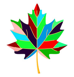 colorful cartoon multicolor maple leaf vector image