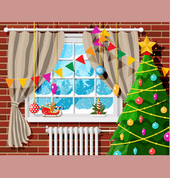 Cozy interior room with christmas tree vector