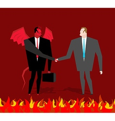 Deal with devil Businessman and make a deal demon vector image