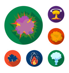 Different explosions flat icons in set collection vector