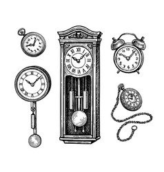Different types vintage clocks vector
