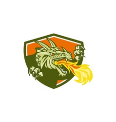Dragon head fire crest retro vector