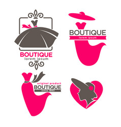 dress boutique or fashion dress and hat atelier vector image