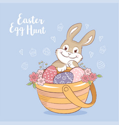 easter bunny with eggs and flowers greeting card vector image