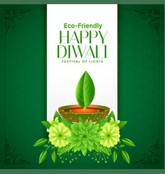 Eco deepawali happy diwali concept background vector