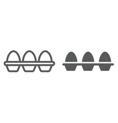 Eggs in carton package line and glyph icon vector