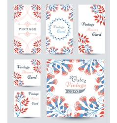 Elegant cards with decorative multi colored flower vector image