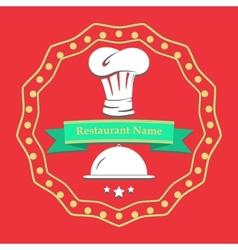 Flat poster Restaurant name card Cooking kitchen vector