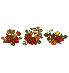 flower bouquet colored poppy flower calendula vector image