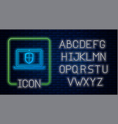 Glowing neon laptop protected with shield icon vector