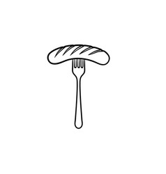 grilled sausage on fork hand drawn sketch icon vector image