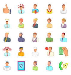 Hand icons set cartoon style vector