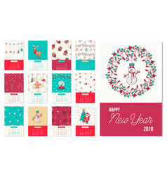 happy new year 2018 cute xmas calendar template vector image