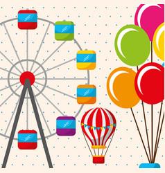 hot air balloon ferris wheel carnival fun fair vector image