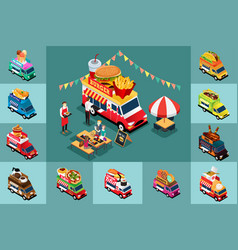 isometric design different food trucks vector image